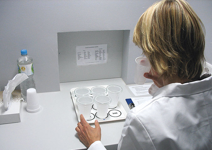 Performing food analysis in the laboratory: laboratory technicians during the examination for residues and contaminants